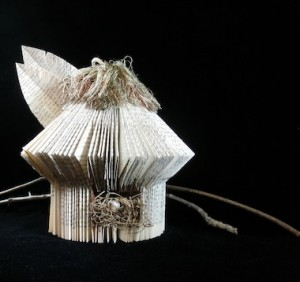 Altered Folded Book birdhouse