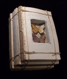 Altered Stacked Book with encased Butterflies